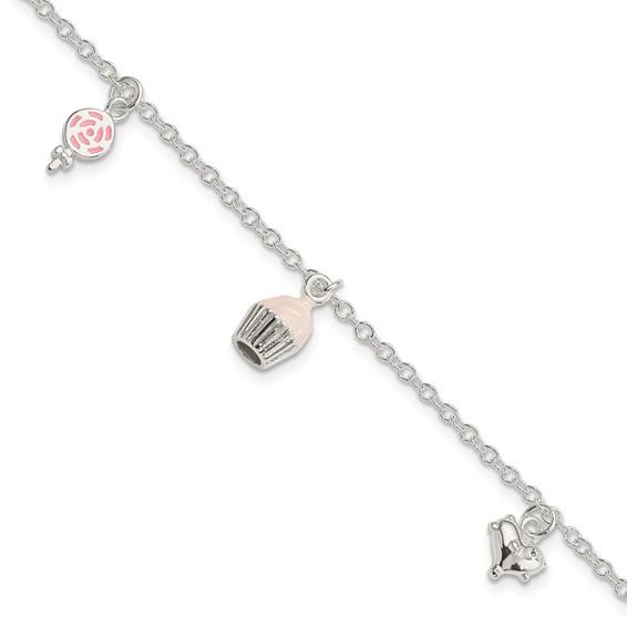 Sterling Silver 5 1/2in Children's Enameled Cupcake Bracelet