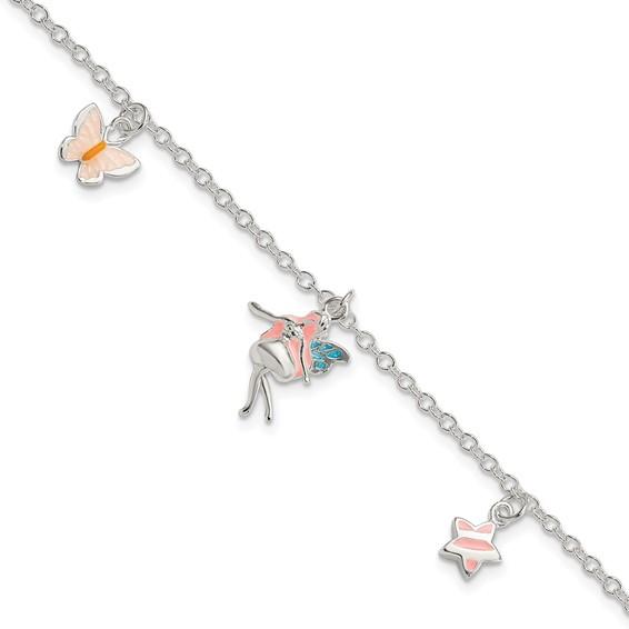 Sterling Silver 5 1/2in Children's Butterfly Fairy Star Bracelet