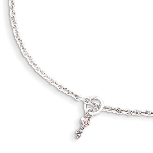 Sterling Silver 5in Pink CZ Key Kid's Bracelet
