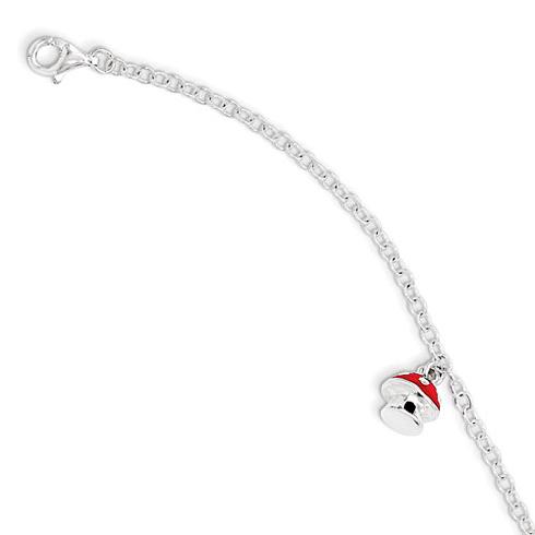 Sterling Silver 5 1/2in Red Enamel Mushroom Bracelet