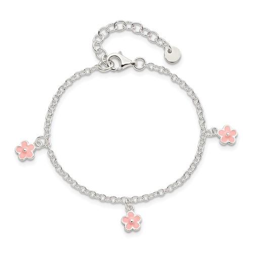 Sterling Silver 5 1/2in Pink Enamel Flower Kid's Bracelet