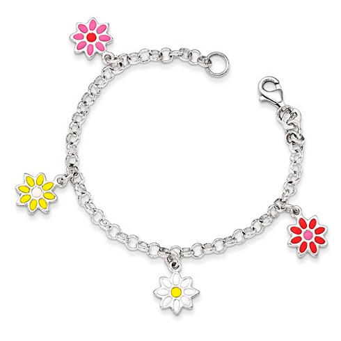Sterling Silver 6in Multi-color Enamel Flowers Bracelet