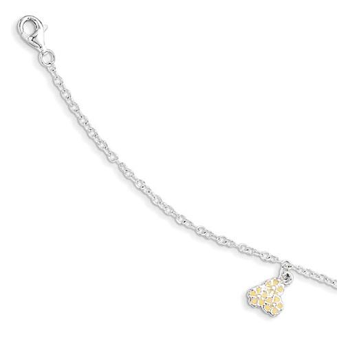 Sterling Silver 5 1/2in Yellow Enamel Flower Kid's Bracelet