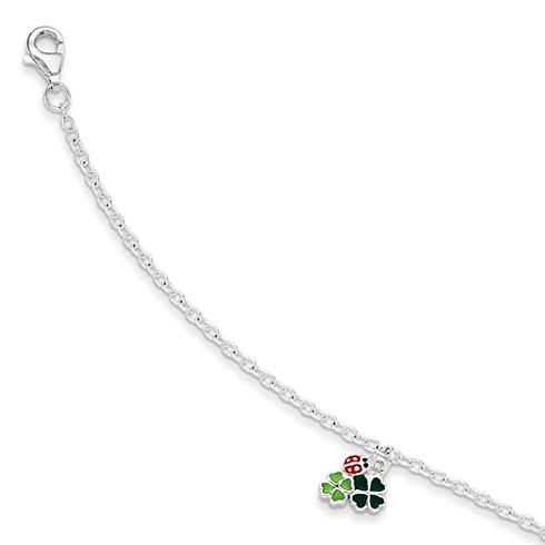 Sterling Silver 5 1/2in Enamel Ladybug & Clovers Bracelet