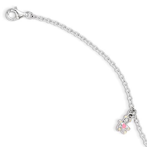 Sterling Silver 5 1/2in Enamel Teddy Bear Kid's Bracelet
