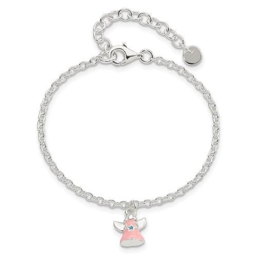 Sterling Silver 5 1/2in Pink Enamel Angel Kid's Bracelet