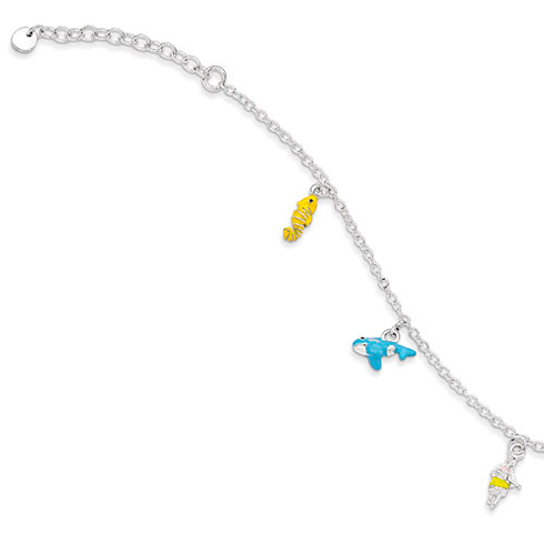 Sterling Silver 5 1/2in Children's Enameled Whale Bracelet