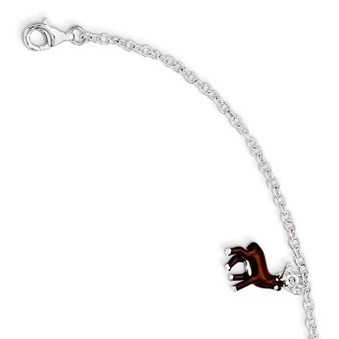 Sterling Silver 5 1/2in Brown Enamel Deer Kid's Bracelet