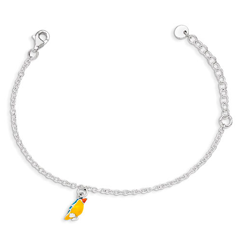Sterling Silver 5 1/2in Enamel Bird Kid's Bracelet