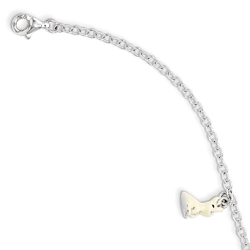Sterling Silver 5 1/2in Cream Enamel Rabbit Bracelet