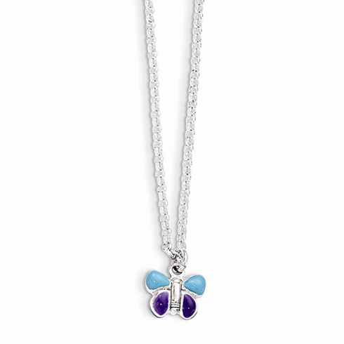Sterling Silver Light Blue and Purple Enamel Butterfly 15in Necklace