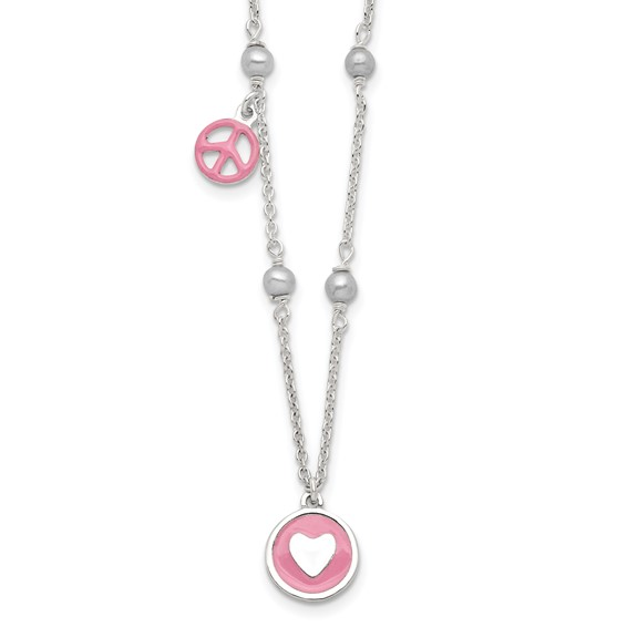 Sterling Silver Freshwater Pearl Enamel Heart Peace Sign 14in Necklace
