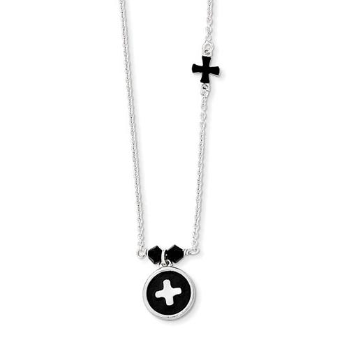 Sterling Silver Black Enamel Swarovski Bead 14in Necklace