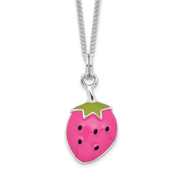 Sterling Silver Enameled Strawberry 15in Necklace