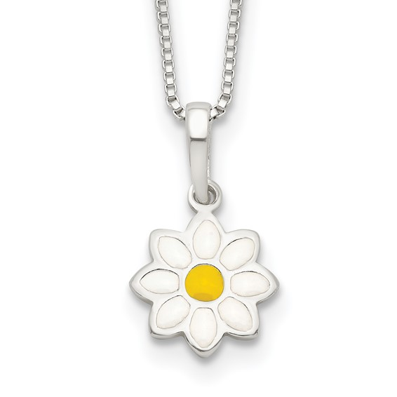 Sterling Silver Enamel Daisy Flower 15in Necklace