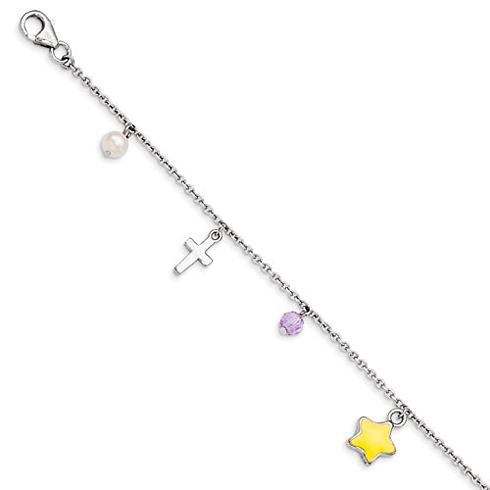 Sterling Silver 7in Star Cross Freshwater Pearl Swarovski Bracelet
