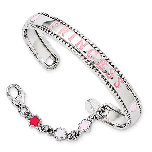 Sterling Silver Enameled Swarovski Elements with Chain Baby Bangle