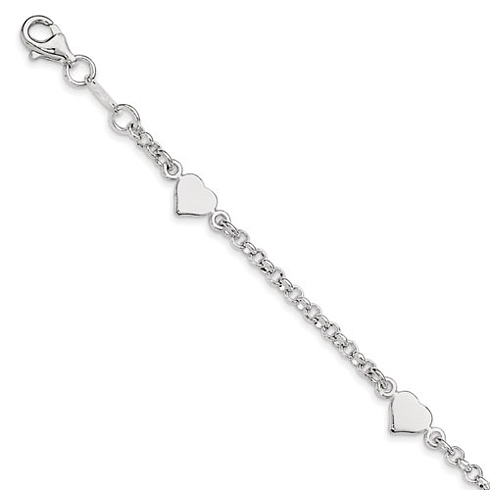 Sterling Silver 5 1/2in Children's Bracelet with Flat Heart Shaped Charms