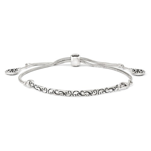 Sterling Silver Reflections Adjustable Antiqued Bar Bracelet with Filigree Design