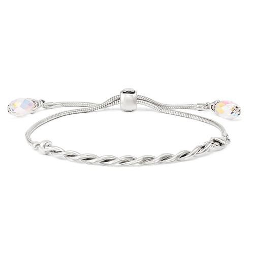 Sterling Silver Reflections Adjustable Bar Bracelet with Clear Swarovski Elements