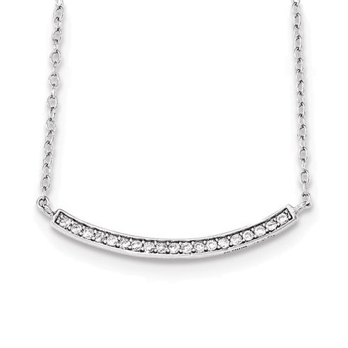 Sterling Silver Cubic Zirconia Curved Bar 18in Necklace