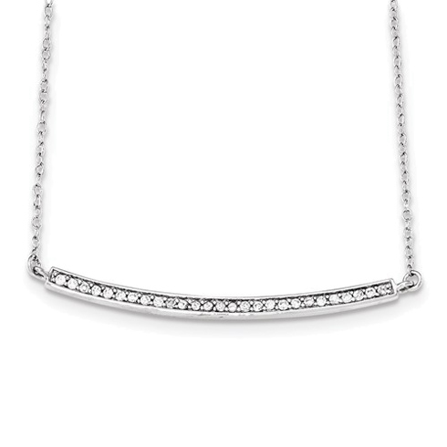 Sterling Silver Cubic Zirconia Long Bar 16in Necklace