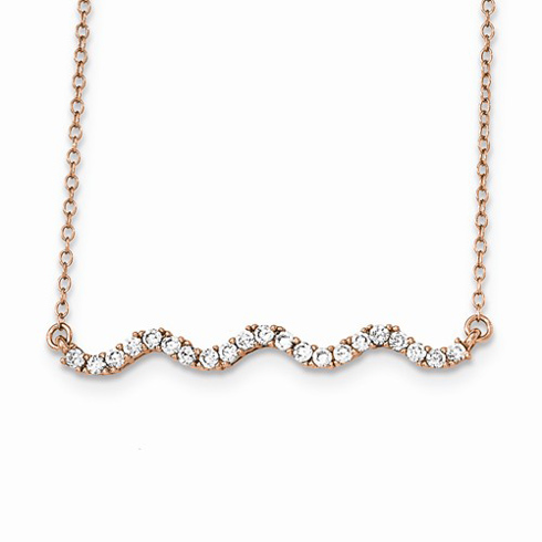 Rose Gold-plated Sterling Silver Cubic Zirconia Wavy Bar 16in Necklace