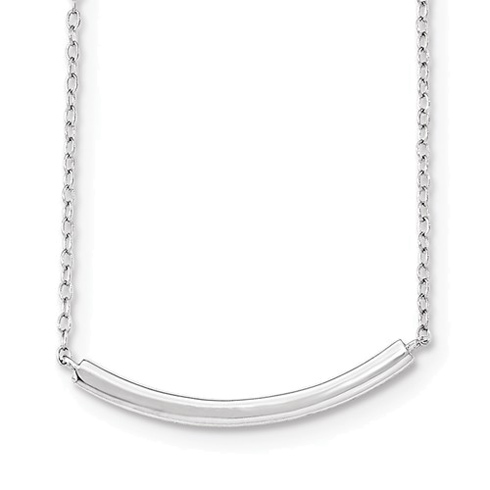 Sterling Silver Curved Bar 16in Necklace