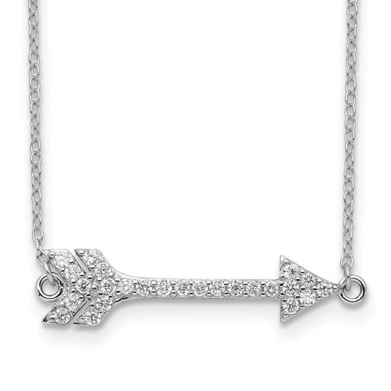 Sterling Silver Cubic Zirconia Arrow 16in Necklace