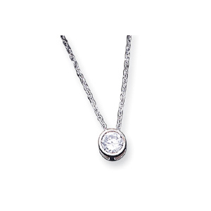 Sterling Silver Bezel CZ Pendant 16in Necklace