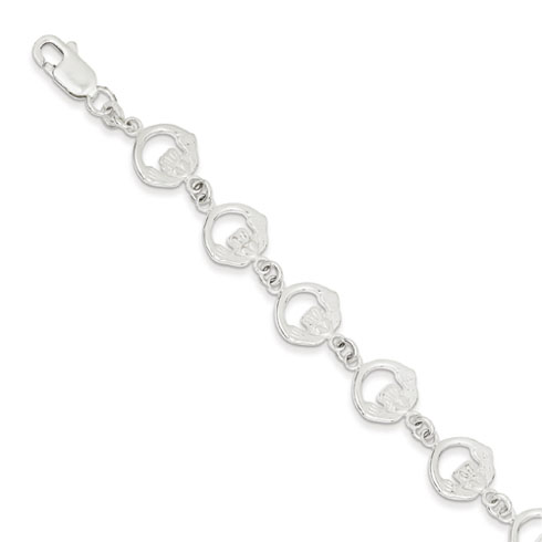 Sterling Silver 7in Claddagh Charm Bracelet