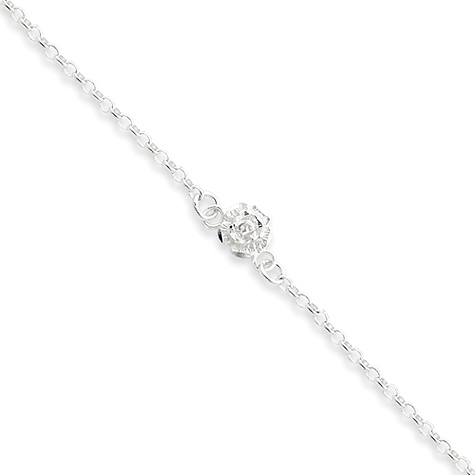 Sterling Silver 9in Flower Charm Anklet