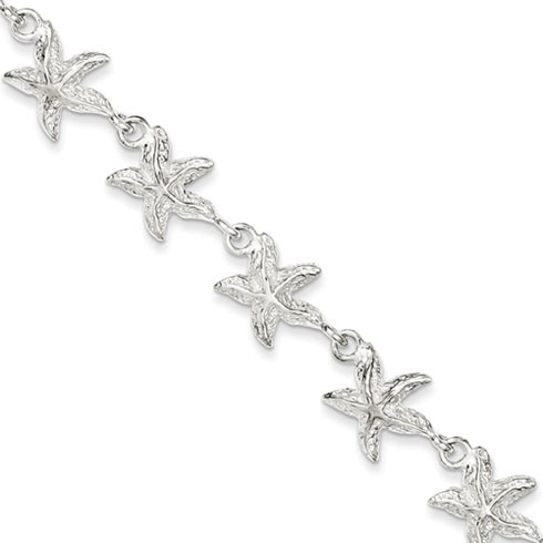 Sterling Silver 7in Starfish Charm Bracelet