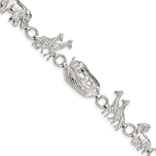 Sterling Silver 7in Noah's Ark Bracelet