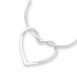 Sterling Silver Italian Heart Pendant Slide on 16in Snake Chain