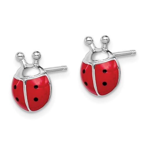 Sterling Silver Madi K Enameled Ladybug Post Earrings