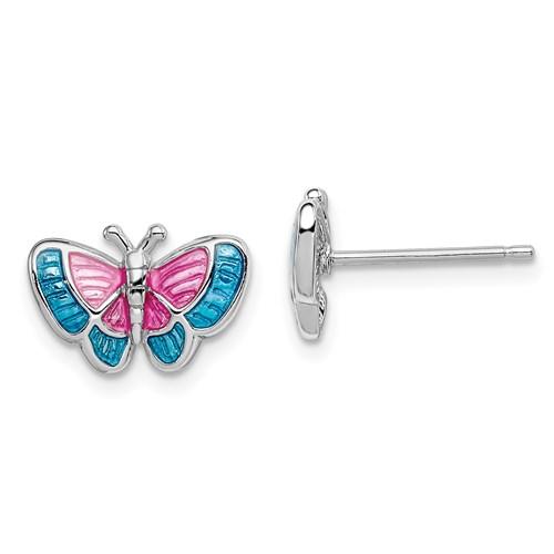Sterling Silver Madi K Enameled Butterfly Post Earrings