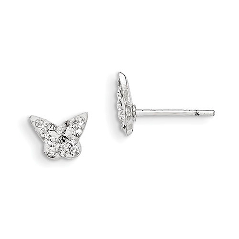 Sterling Silver Madi K Stellux Crystal Butterfly Post Earrings