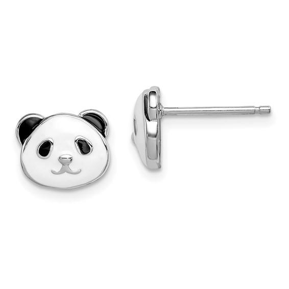 Kid's Sterling Silver Madi K Enameled Panda Bear Post Earrings