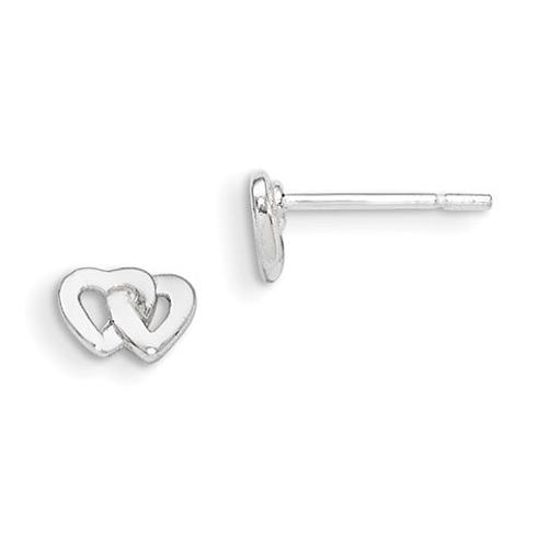 Sterling Silver Madi K Double Heart Post Earrings