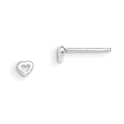 Sterling Silver Madi K Cut Out Heart Post Earrings