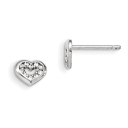 Sterling Silver Madi K CZ Children's Heart Post Earrings