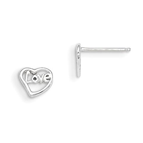 Sterling Silver Madi K Love in Heart Post Earrings