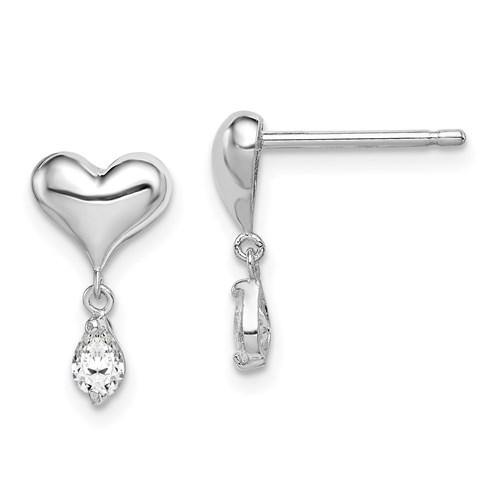 Sterling Silver Madi K CZ Children's Heart Dangle Post Earrings