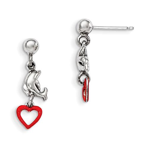 Sterling Silver Madi K Enamel Dolphin and Heart Dangle Earrings