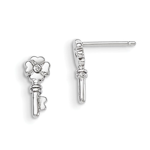 Sterling Silver Madi K with Swarovski Elements Key Post Earrings