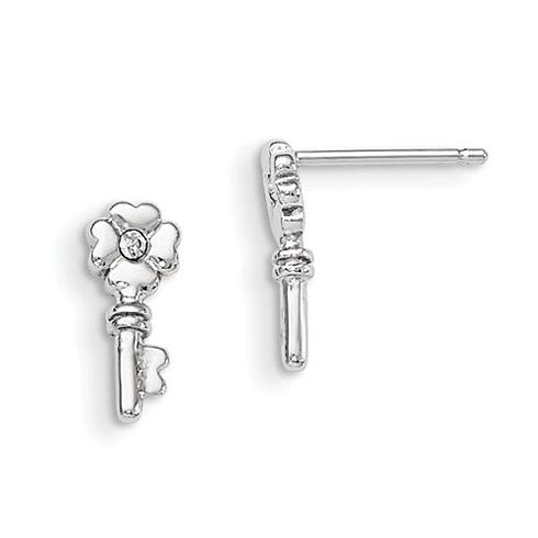 Sterling Silver Madi K with Swarovski Elements Key Post Earrings