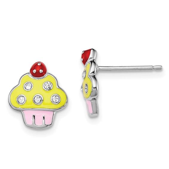 Sterling Silver Madi K Enameled Swarovski Elements Cupcake Earrings