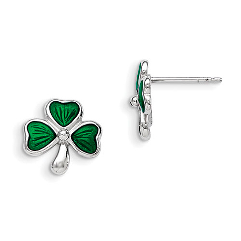 Sterling Silver Madi K Green Enameled Shamrock Post Earrings