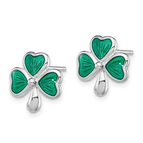 Sterling Silver Madi K Green Enameled Shamrock Post Earrings